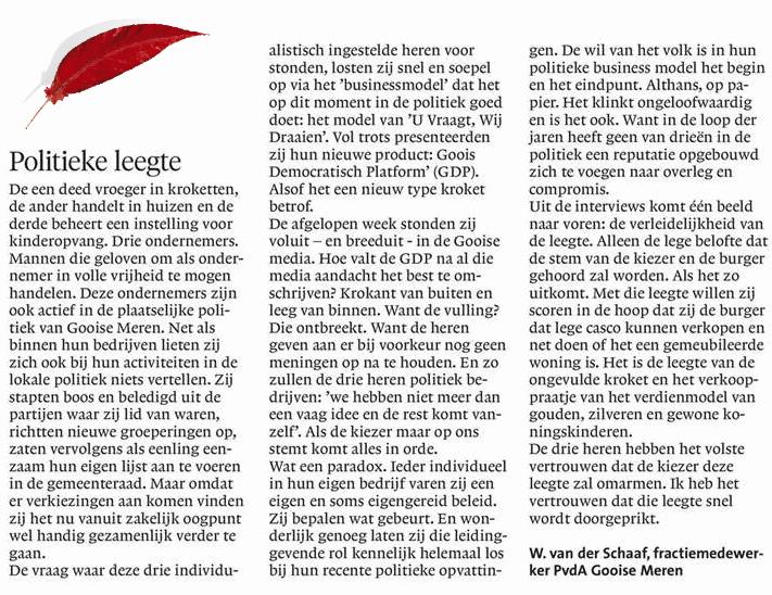 """Ingezonden stuk van onze fractiemedewerker Wouter van der Schaaf, """"Politieke leegte"""", november 2017"""